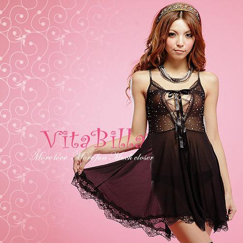 【伊莉婷】VitaBilla 夜色情迷 LUCKMATE 優雅名媛 睡裙+小褲 二件組