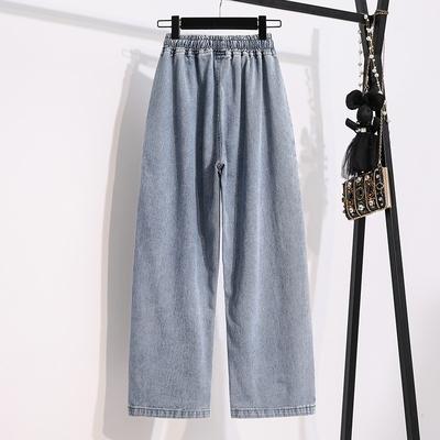 寬褲 薄款S-5XL小中大尺碼牛仔直筒褲~高腰牛仔褲女闊腿褲松緊腰抽繩垂感褲子MC077莎菲娜