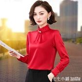 雪紡襯衫女長袖紅色2019春秋冬季新款洋氣上衣打底加絨加厚襯衣寸