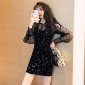 洋裝韓系視頻秋裝時髦上衣絲絨吊帶連身裙小禮服兩件套套裝8537GT364快時尚