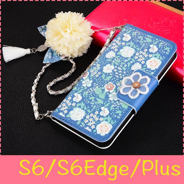 【萌萌噠】三星 Galaxy S6/S6Edge/Plus 中國風茉莉花保護套 可插卡側翻皮套 磁扣 茉莉花掛飾手提 皮套