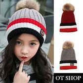 OT SHOP 帽子 兒童款毛帽 孩童禦寒針織帽 毛球帽 兒童穿著配件 [現貨] 2色 C5009