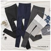 Catworld 內絨毛蕾絲襪頭提臀九分款褲襪【18003459】‧F