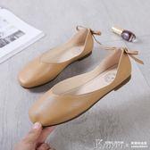 護士鞋 方頭韓版平底鞋蝴蝶結復古奶奶鞋軟底單鞋女護士鞋【韓國時尚週】