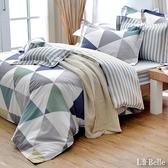 義大利La Belle《炫彩空間》雙人純棉防蹣抗菌吸濕排汗兩用被床包組