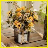 仿真花假花絹花玫瑰套裝樣板房擺件客廳餐桌玻璃花藝擺設軟裝飾品【櫻花本鋪】