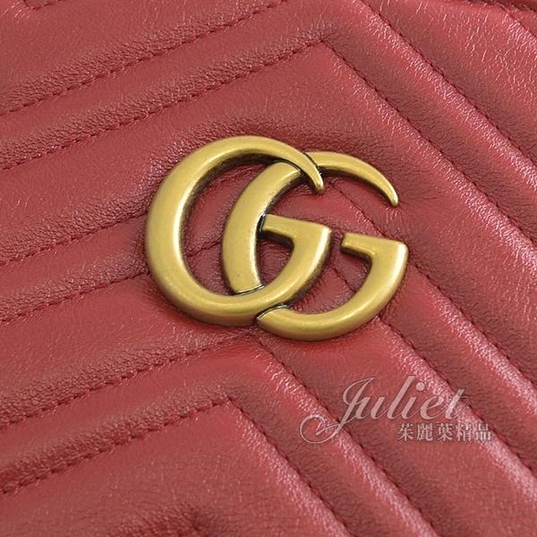 茱麗葉精品【全新現貨】GUCCI 524578 GG Marmont 絎縫紋牛皮肩鍊包.深紅
