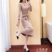 純色針織連身裙女秋冬過膝長裙子19新款打底衫中長款套頭毛衣裙厚『小淇嚴選』