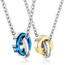 《 QBOX 》FASHION 飾品【C20N1616】精緻個性情侶幾何形雙環鑲鑽鈦鋼對墬子項鍊