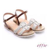 effie 個性涼夏 絨面真皮圓楦羅馬小坡跟涼鞋  白