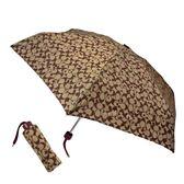 美國正品 COACH 耀眼星星LOGO輕量摺疊晴雨傘-棕色/紅色【現貨】