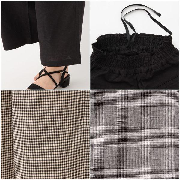 GLOBAL WORK女素色格紋荷葉彈性鬆緊褲頭寬管褲長褲-五色