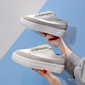增高鞋 增高小白鞋女2019春新款厚底板鞋女綢緞休閒女鞋西班牙小眾運動鞋 MKS霓裳細軟