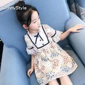 女童碎花連身裙2019新款夏裝洋氣童裝女大童韓版短袖兒童雪紡裙子