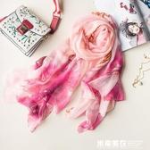 絲巾圍巾女春夏季雪紡防曬披肩清新中國風超大沙灘巾薄紗巾荷花 米希美衣
