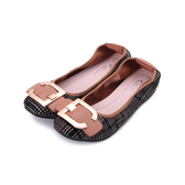 DANBILI 真皮鞍型飾釦平底鞋 黑紅格紋 A08336-20 女鞋 鞋全家福