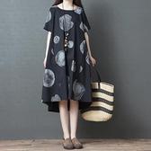 洋裝 連身裙 夏新款中大尺碼 韓版文藝舒適寬鬆顯瘦中長款印花短袖襯衫連身裙女 降價兩天