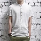 中國風男裝亞麻短袖襯衫復古上衣服加大碼棉麻布半袖襯衣唐裝夏季 JX3693『男神港灣』