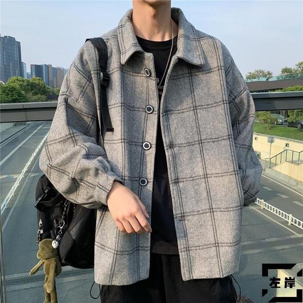 毛呢格子風衣男韓版潮流外套復古大衣秋冬季【左岸男裝】