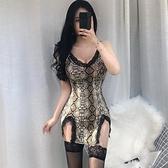 夜店女裝夜店新款女網紅性感低胸蕾絲誘惑情趣超短裙豹紋吊帶修身洋裝夏