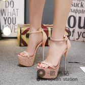 恨天高/歐美性感細跟女涼鞋16cm超高跟鞋防水台模特走秀夜店演出鞋