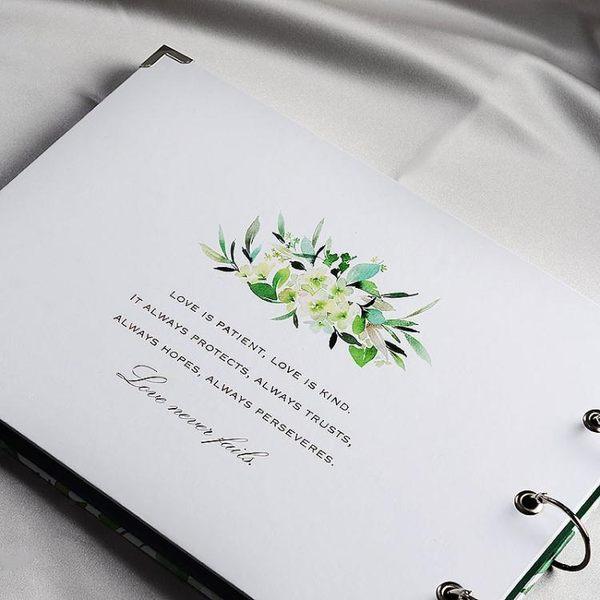 浮光綠影結婚簽名冊簽到簿簽到本綠色婚禮紀念冊『極有家』