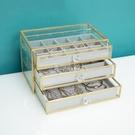 歐式抽屜式飾品收納首飾盒玻璃耳環耳釘戒指項鏈珠寶收納盒防塵