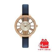 Kenneth Cole 時尚晶鑽鏤空設計都會腕錶 KC50184001 藍X玫瑰金