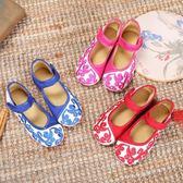 老北京女童繡花鞋兒童刺繡魔術貼布鞋傳統民族風公主舞蹈演出童鞋