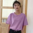 純棉短袖 純棉夏季簡約短袖T恤女圓領寬鬆韓版百搭網紅學生超火純色