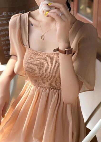 VK旗艦店 韓系雪紡顯瘦氣質超仙長裙短袖洋裝