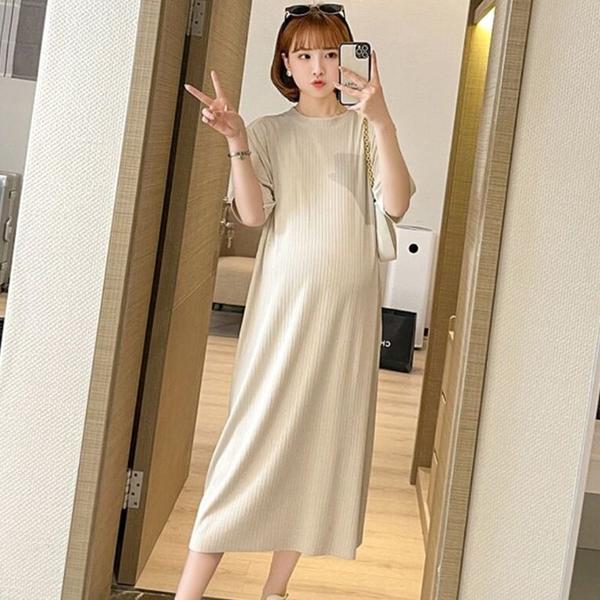 漂亮小媽咪 韓系 純色 坑條 針織棉 長裙 【D3271-1】開叉 修身 長洋裝 連身裙