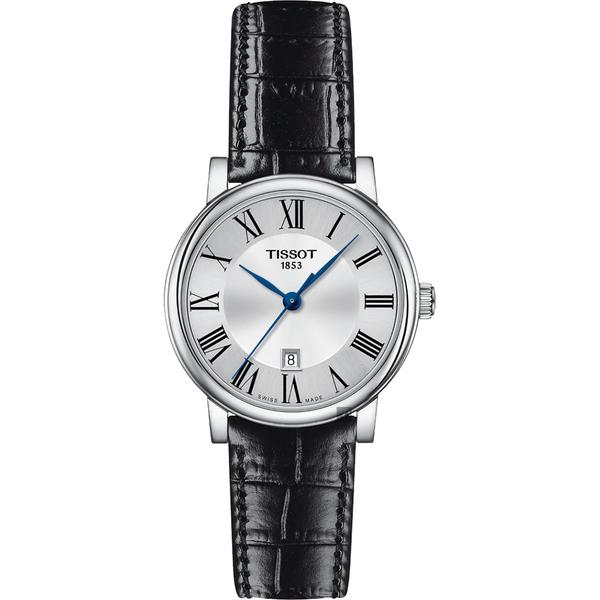 TISSOT 天梭 Carson 羅馬石英女錶-黑/30mm T1222101603300
