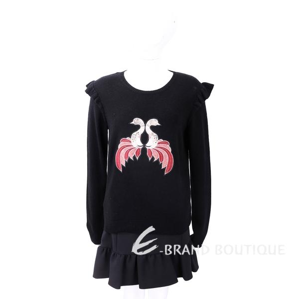 PINKO BENCHE 天鵝刺繡黑色針織羊毛衫 1810169-01