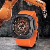SEVENFRIDAY P3-4時尚簍空自動上鍊機械錶47mm/黑橘