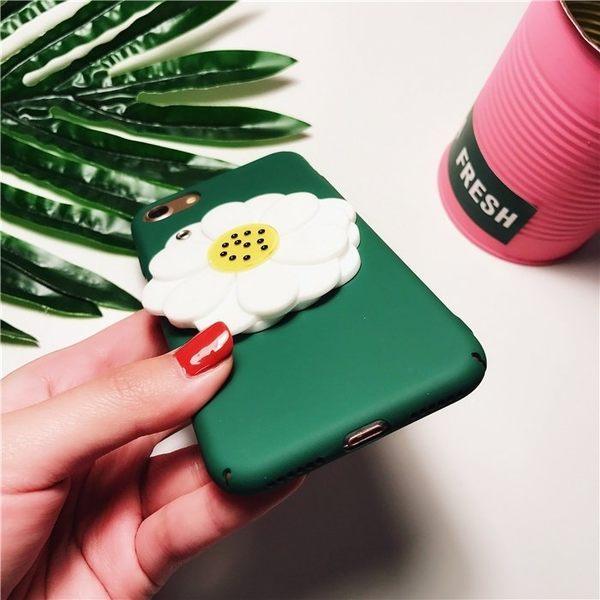 iPhone手機殼 韓國綠底雛菊鏡子 磨砂硬殼 蘋果iPhone7/iPhone6 手機殼