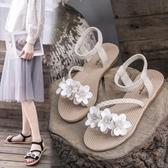 沙灘鞋 仙女風涼鞋女學生2019夏季新款女鞋韓版百搭沙灘鞋平底厚底羅馬鞋