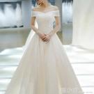 輕主婚紗禮服2021新款氣質新娘結婚一字肩拖尾奢華森系簡約齊地女 喵小姐