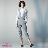 【SHOWCASE】寬版吊帶格紋連身褲(灰色)