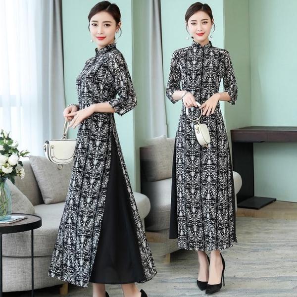 降價兩天 復古連身裙長款唐裝時尚旗袍越南奧黛氣質休閒立領開叉洋氣女裙
