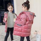 兒童長款羽絨服女童金絲絨棉衣冬裝新款兒童加厚外套棉襖女孩中長款羽絨棉服伊芙莎