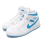 Nike Wmns Air Jordan 1 Mid UNC 白 藍 女鞋 男鞋 北卡藍 喬丹 1代 飛人 AJ1 運動鞋【PUMP306】 BQ6472-114