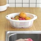 菜籃 雙層瀝水籃洗菜盆客廳水果盤家用小號塑料菜籃子洗菜籃子【免運出貨】