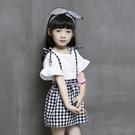 女童短袖套裝 荷葉袖上衣+黑白格紋吊帶裙...
