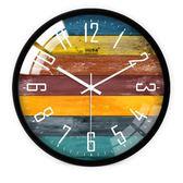 北歐創意木紋大號靜音掛鐘現代時尚歐式客廳個性臥室石英時鐘表 qf28927【MG大尺碼】