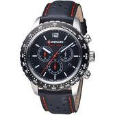 瑞士WENGER Roadster速度系列黑夜騎士三眼指針腕錶 01.0853.105