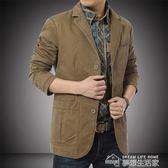 西裝外套休閒男士休閒西服男純色純棉外套夾克青年商務西裝上衣男單西秋  夢想生活家