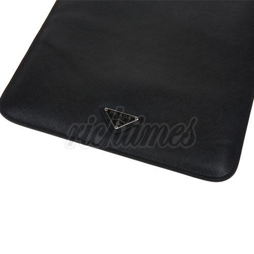 【裕代 PRADA】經典LOGO防刮牛皮iPad保護套(黑)PD1C3219