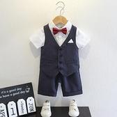 男童西裝兒童套裝夏季英倫風洋氣花童禮服男寶寶周歲衣服韓版時尚 幸福第一站