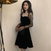 新款網紗拼接蓬蓬裙子小黑裙復古收腰方領禮服連衣裙女裝-奇幻樂園